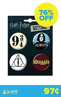 "Harry Potter 4-Button Set ""Platform 9-3/4, Always Snape, Deathly Hallows & Muggle"""