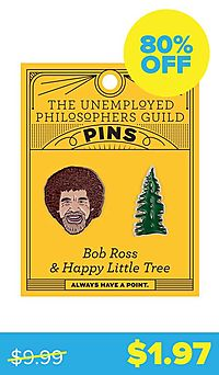 Bob Ross & Tree Enamel Pins
